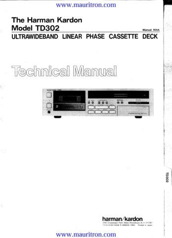 HARMAN KARDON TD302 Service Manual with Schematics Circuits on Mauritron CD