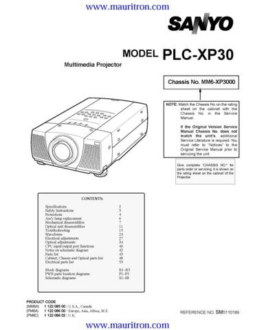 SANYO PLC-XP30 Service Manual with Schematics Circuits on Mauritron CD