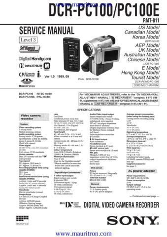 SONY DCR-PC100 Service Manual with Schematics Circuits on Mauritron CD