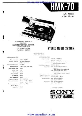 SONY HMK70 Service Manual with Schematics Circuits on Mauritron CD