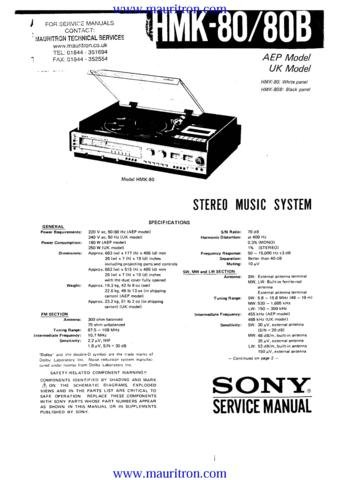 SONY HMK80 Service Manual with Schematics Circuits on Mauritron CD