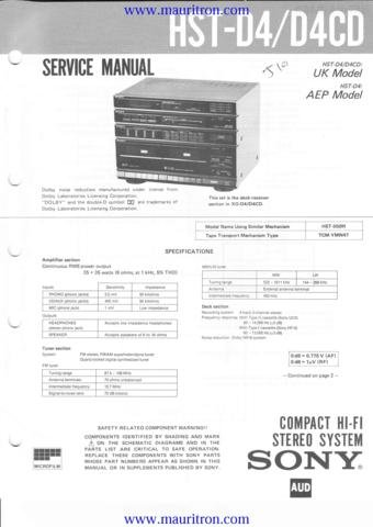 SONY HST-D4 Service Manual with Schematics Circuits on Mauritron CD