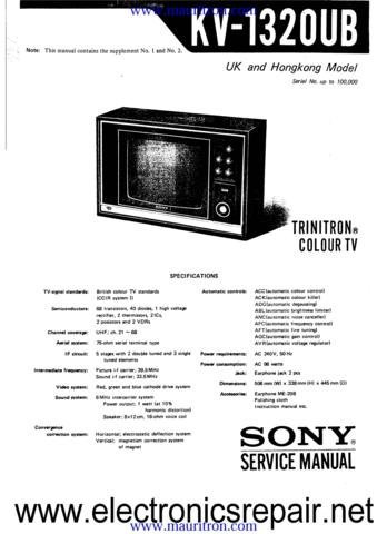 SONY KV1320UB Service Manual with Schematics Circuits on Mauritron CD