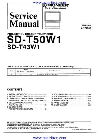 PIONEER SDT50W1 Service Manual with Schematics Circuits on Mauritron CD