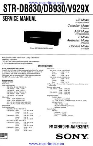 SONY STRDB930 Service Manual with Schematics Circuits on Mauritron CD