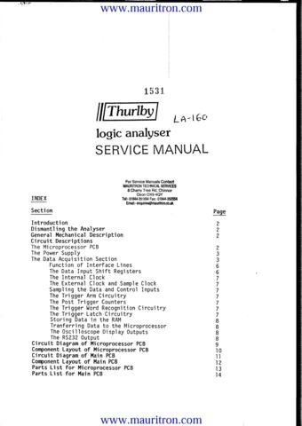 THURLBY LA160 Service Manual with Schematics Circuits on Mauritron CD
