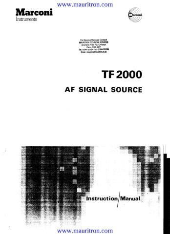 MARCONI TF2000 Service Manual with Schematics Circuits on Mauritron CD