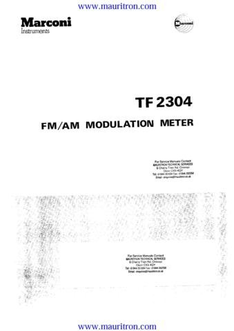 MARCONI TF2304 Service Manual with Schematics Circuits on Mauritron CD