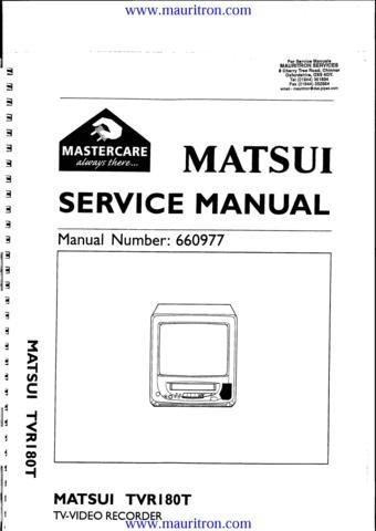 MATSUI TVR180T Service Manual with Schematics Circuits on Mauritron CD