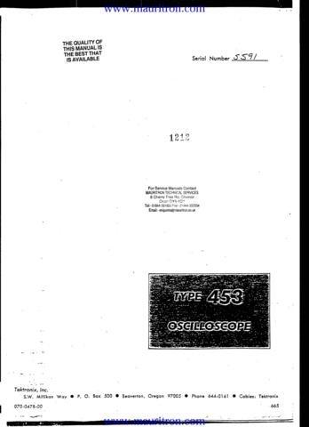 TEKTRONIX 453 Service Manual with Schematics Circuits on Mauritron CD