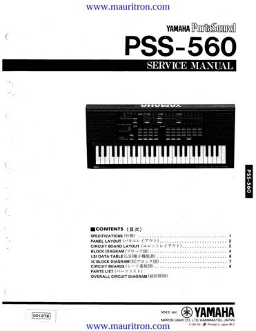 YAMAHA PSS560 Service Manual with Schematics Circuits on Mauritron CD