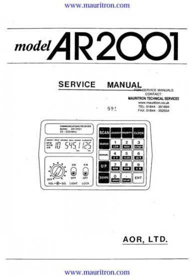 AOR AR2001 Service Manual with Schematics Circuits on Mauritron CD