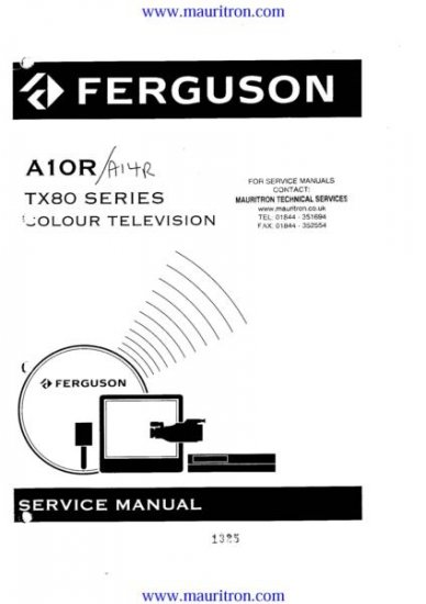 FERGUSON A10R Service Manual with Schematics Circuits on Mauritron CD