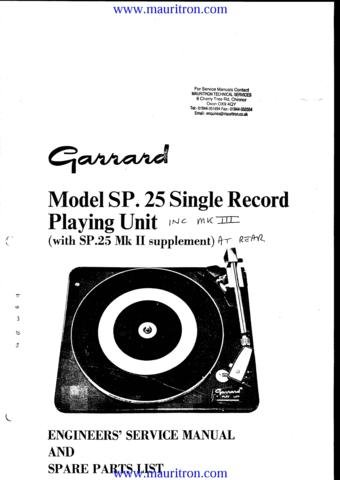 GARRARD SP25 MK III Service Manual with Schematics Circuits on Mauritron CD