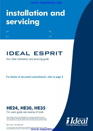 IDEAL ESPRIT HE35 Service Manual with Schematics Circuits on Mauritron CD