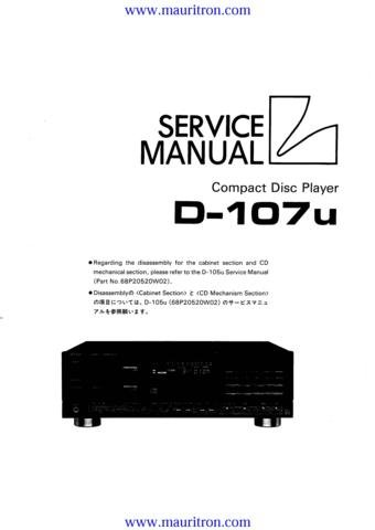 LUXMAN D107U Service Manual with Schematics Circuits on Mauritron CD