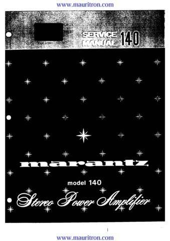 MARANTZ 140 Service Manual with Schematics Circuits on Mauritron CD