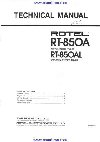 ROTEL RA850A Service Manual with Schematics Circuits on Mauritron CD