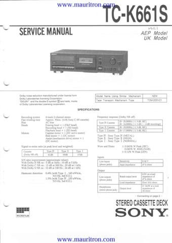 SONY TC-K661S Service Manual with Schematics Circuits on Mauritron CD