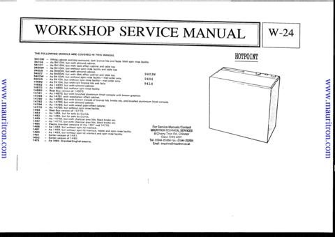 Hotpoint 9414 Service Manual with Schematics Circuits on Mauritron CD