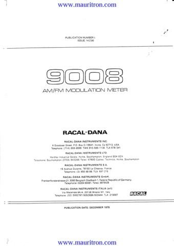 RACAL 9008 Service Manual with Schematics Circuits on Mauritron CD