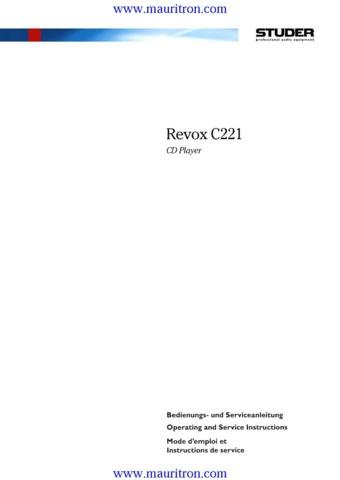 REVOX C221 C-221 Service Manual with Schematics Circuits on Mauritron CD