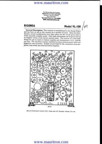 RIGONDA VL100 Service Manual with Schematics Circuits on Mauritron CD