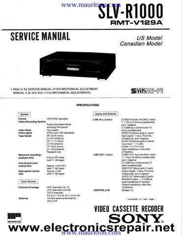 SONY SLV-R1000 Service Manual with Schematics Circuits on Mauritron CD
