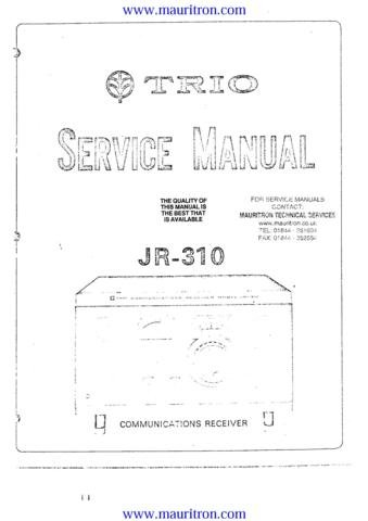 TRIO JR310 Service Manual with Schematics Circuits on Mauritron CD