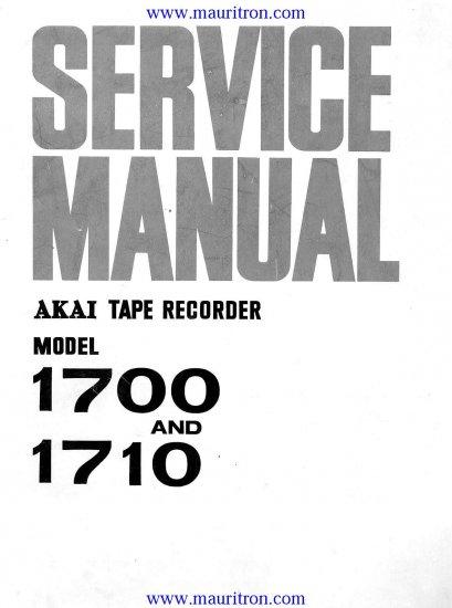 AKAI 1710 Service Manual with Schematics Circuits on Mauritron CD