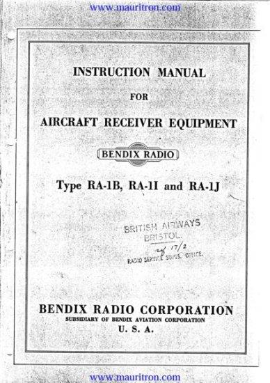 BENDIX RA1 Service Manual with Schematics Circuits on Mauritron CD