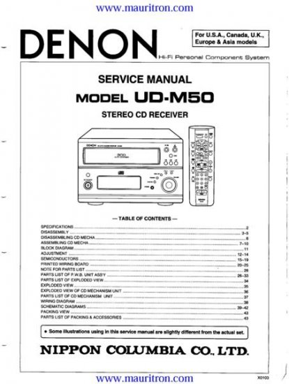 DENON UDM50 Service Manual with Schematics Circuits on Mauritron CD