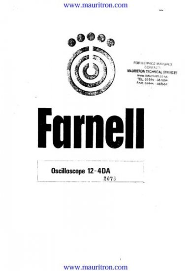 FARNELL 12-4A Service Manual with Schematics Circuits on Mauritron CD
