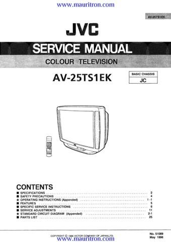JVC AV-25TS1EK Service Manual with Schematics Circuits on Mauritron CD