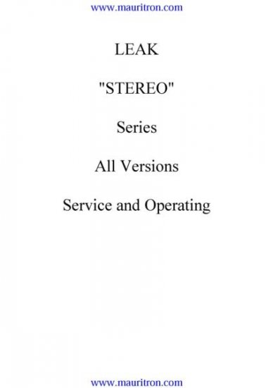 LEAK STEREO SERIES Service Manual with Schematics Circuits on Mauritron CD