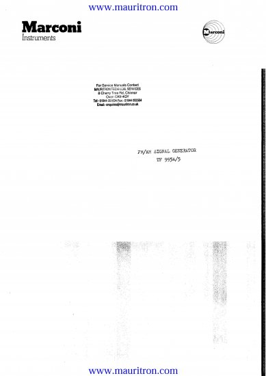 MARCONI TF-995A-5 Service Manual with Schematics Circuits on Mauritron CD