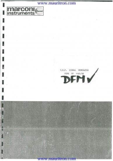 MARCONI TF-1064-B5 Service Manual with Schematics Circuits on Mauritron CD