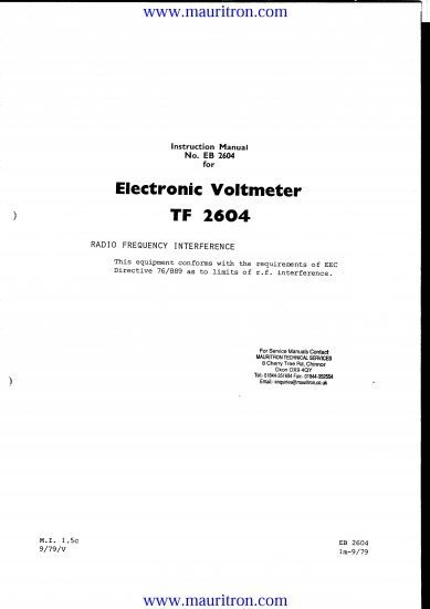 MARCONI TF-2604 Service Manual with Schematics Circuits on Mauritron CD