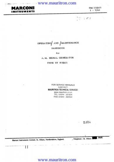 MARCONI TF-801D-1 Service Manual with Schematics Circuits on Mauritron CD