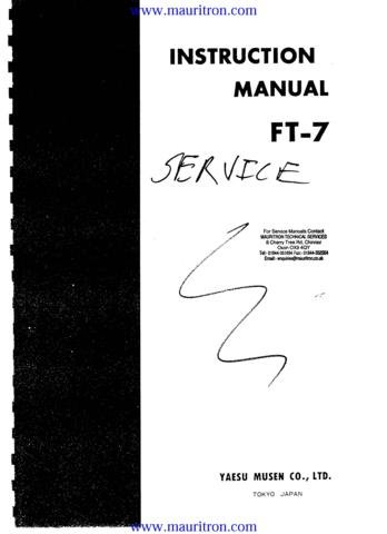 YAESU FT-7 FT7 Service Manual with Schematics Circuits on Mauritron CD