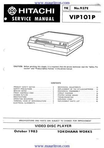 HITACHI VIP101P Service Manual with Schematics Circuits on Mauritron CD