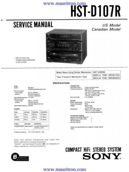 SONY HST-D107R Service Manual with Schematics Circuits on Mauritron CD