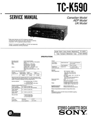 SONY TCK590 Service Manual with Schematics Circuits on Mauritron CD