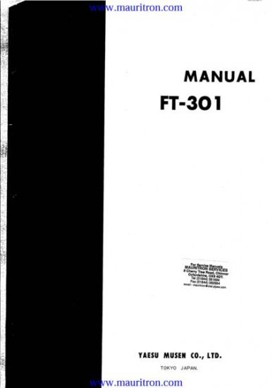 YAESU FT301 Service Manual with Schematics Circuits on Mauritron CD