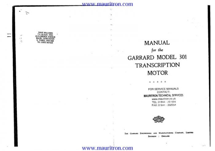 GARRARD 301 Service Manual with Schematics Circuits on Mauritron CD