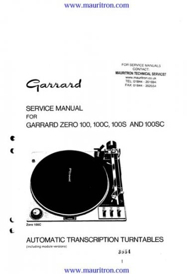 GARRARD ZERO 100C Service Manual with Schematics Circuits on Mauritron CD