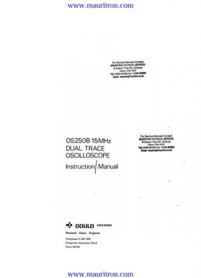 GOULD OS250B Service Manual with Schematics Circuits on Mauritron CD