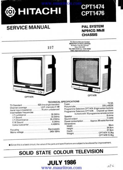 HITACHI CPT1476 Service Manual with Schematics Circuits on Mauritron CD