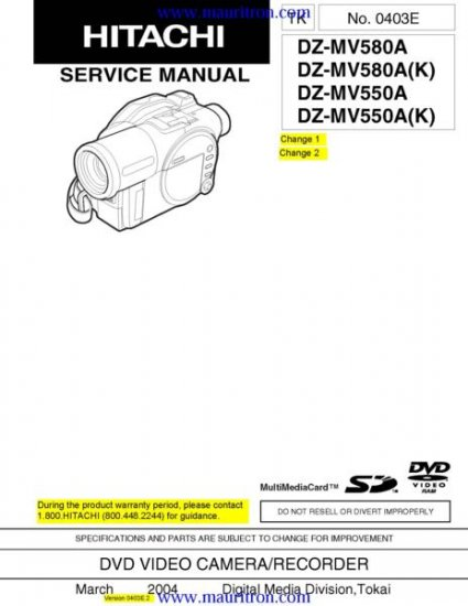 HITACHI DZ-MV580A Service Manual with Schematics Circuits on Mauritron CD