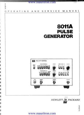 HP HEWLETT PACKARD 8011A Service Manual with Schematics Circuits on Mauritron CD